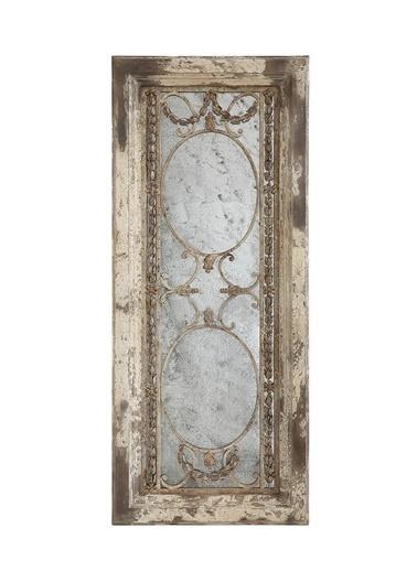 Warm Design Ahşap Çerçeveli Antik Ayna Bej